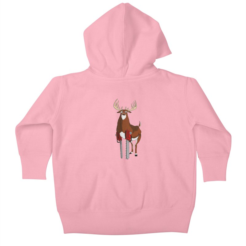 Chainsaw Deer Kids Baby Zip-Up Hoody by pause's Artist Shop