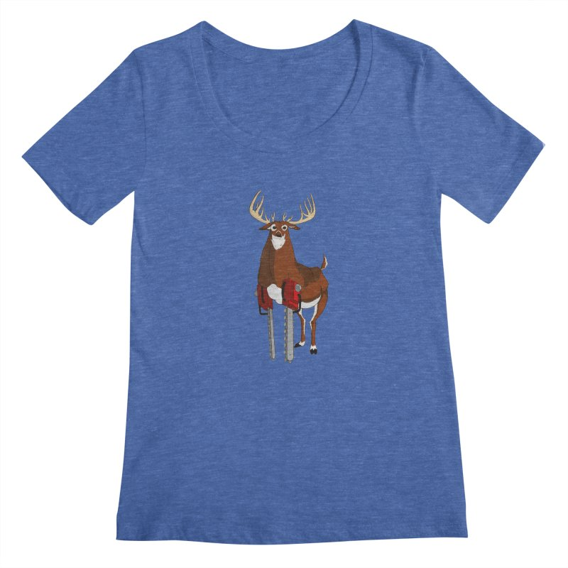 Chainsaw Deer Women's Scoopneck by pause's Artist Shop