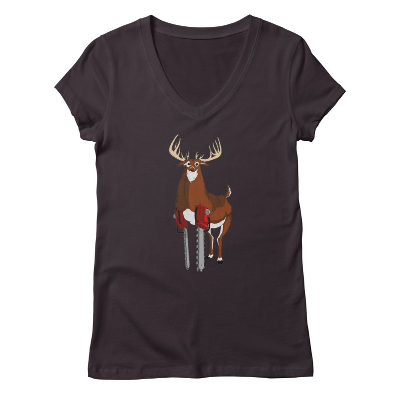 Chainsaw Deer Women's V-Neck by pause's Artist Shop