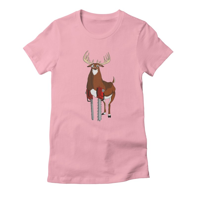Chainsaw Deer Women's Fitted T-Shirt by pause's Artist Shop