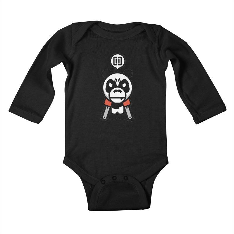 Cute Chainsaw Panda Kids Baby Longsleeve Bodysuit by pause's Artist Shop