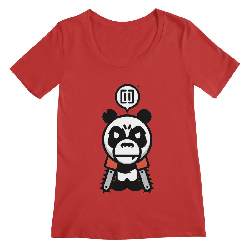 Cute Chainsaw Panda Women's Scoopneck by pause's Artist Shop