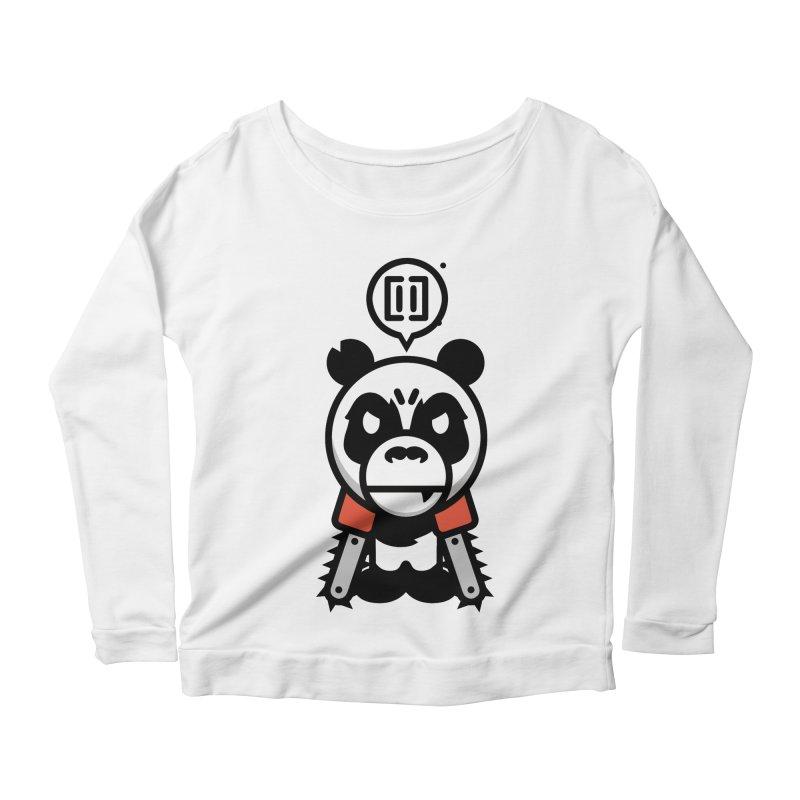 Cute Chainsaw Panda Women's Longsleeve Scoopneck  by pause's Artist Shop