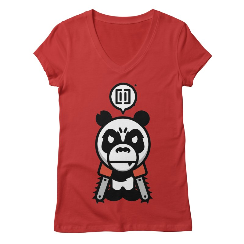 Cute Chainsaw Panda Women's V-Neck by pause's Artist Shop