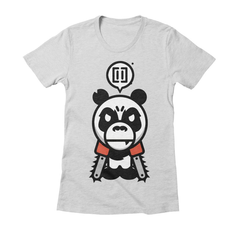 Cute Chainsaw Panda Women's Fitted T-Shirt by pause's Artist Shop