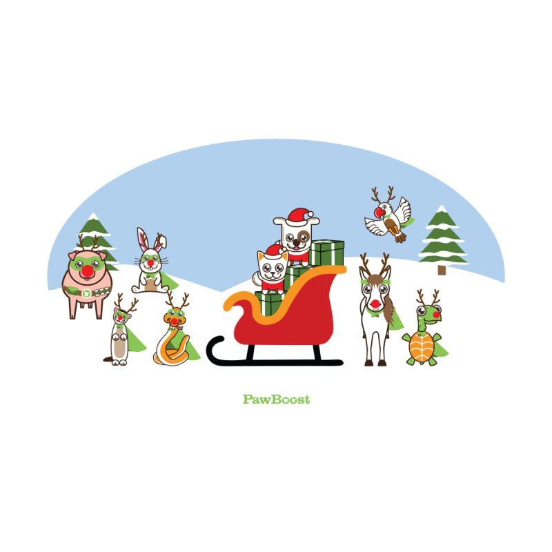 Santa Paws & Reindeer Home Fine Art Print by PawBoost's Shop