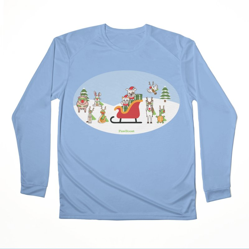 Santa Paws & Reindeer Women's Longsleeve T-Shirt by PawBoost's Shop