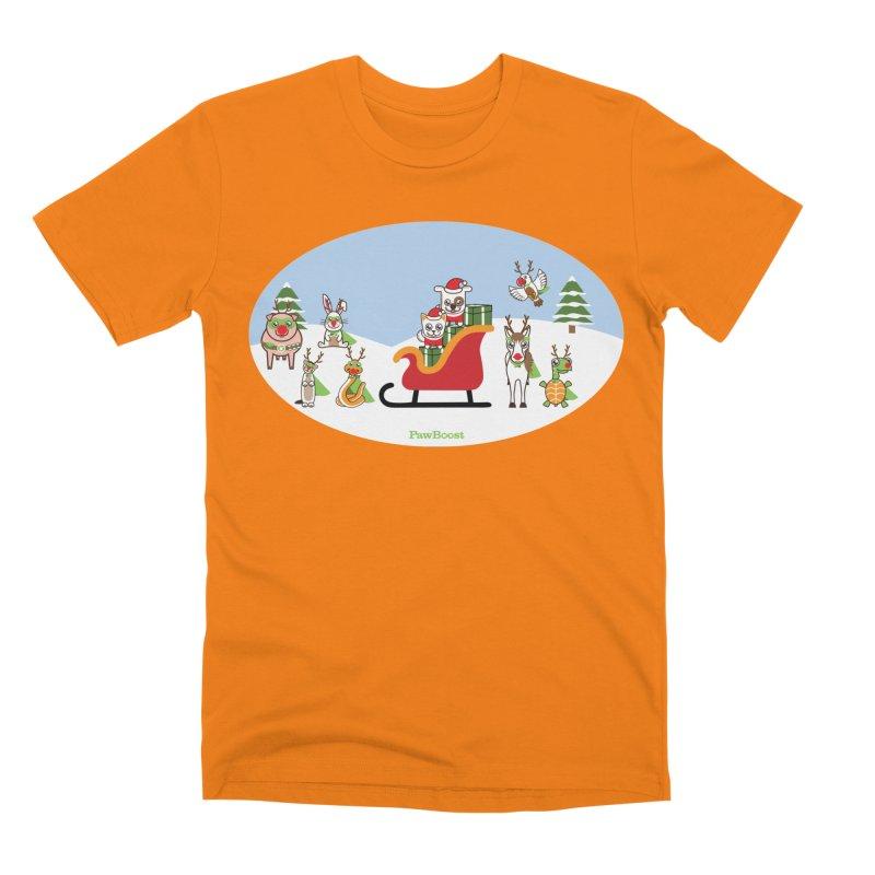 Santa Paws & Reindeer Men's T-Shirt by PawBoost's Shop