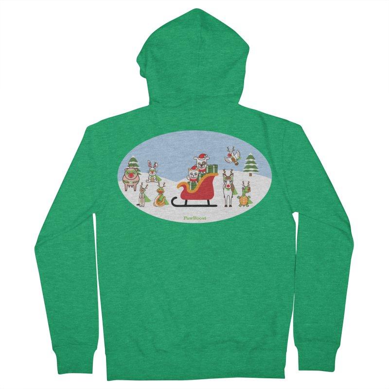 Santa Paws & Reindeer Men's Zip-Up Hoody by PawBoost's Shop