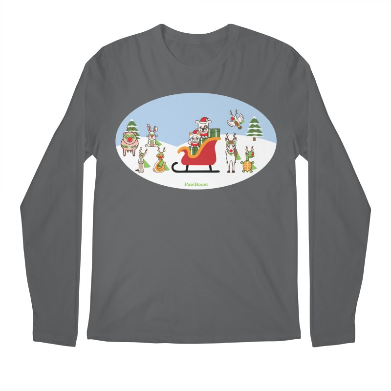 Santa Paws & Reindeer Men's Longsleeve T-Shirt by PawBoost's Shop
