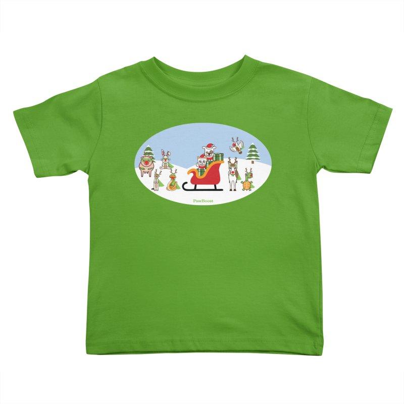 Santa Paws & Reindeer Kids Toddler T-Shirt by PawBoost's Shop