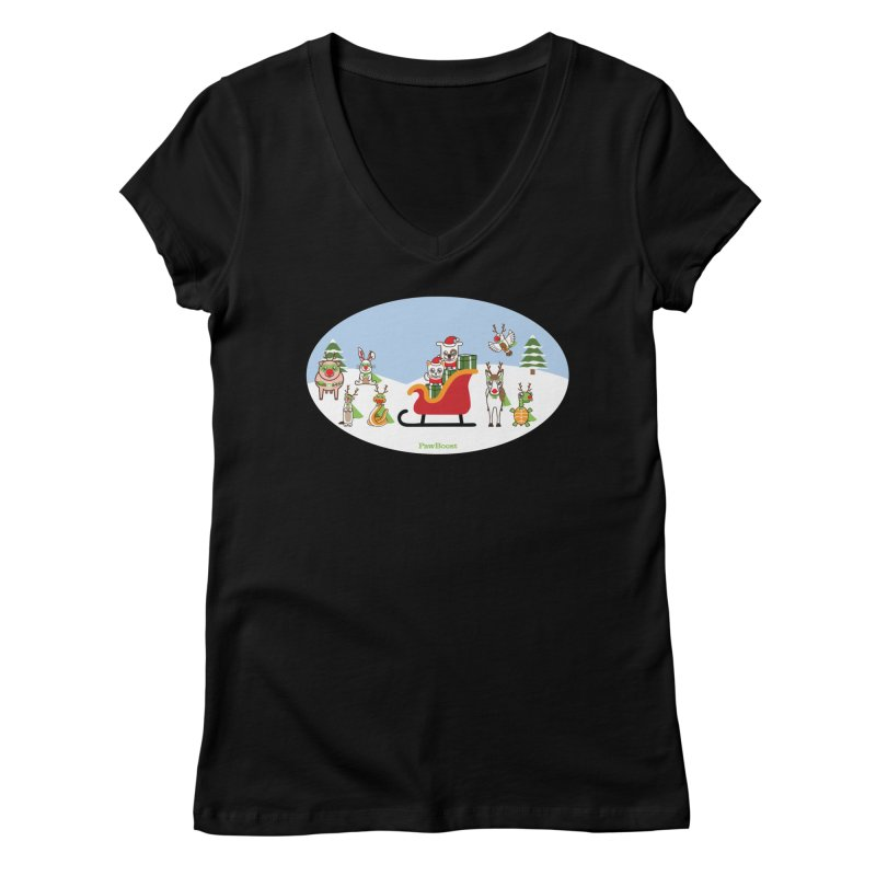 Santa Paws & Reindeer Women's V-Neck by PawBoost's Shop