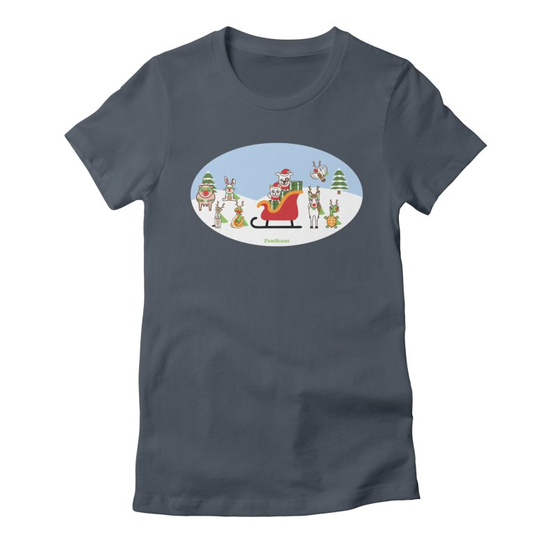 Santa Paws & Reindeer Women's T-Shirt by PawBoost's Shop