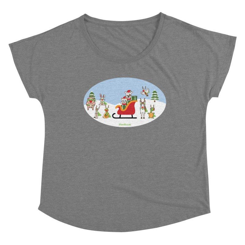 Santa Paws & Reindeer Women's Scoop Neck by PawBoost's Shop