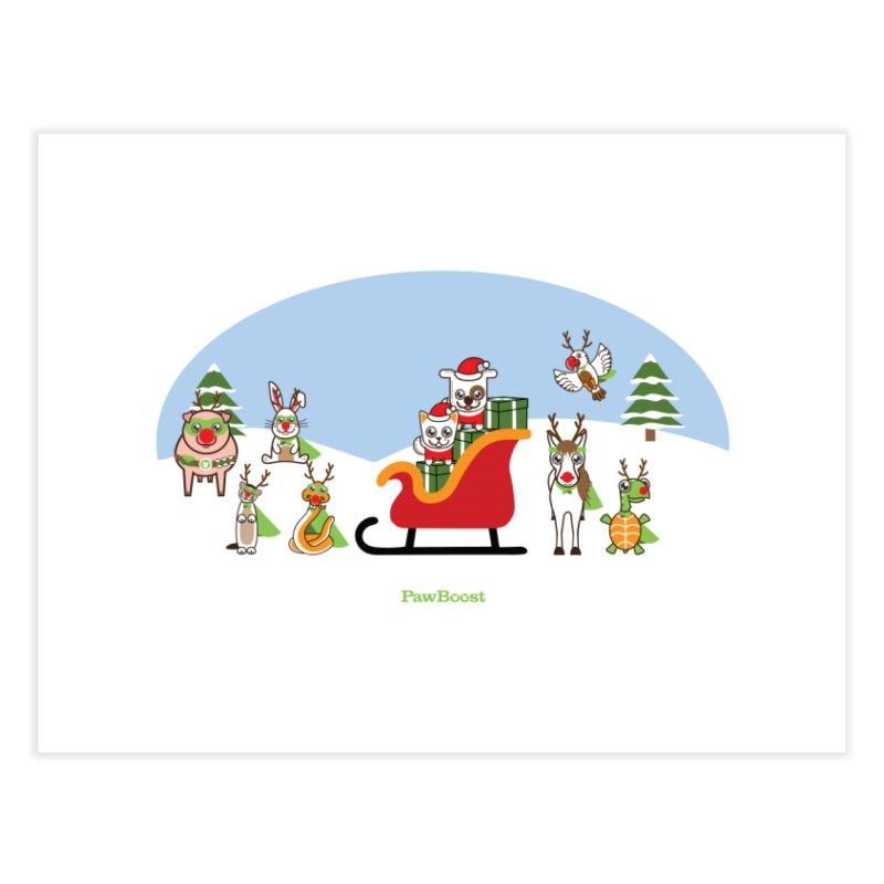 Santa Paws & Reindeer Home Fine Art Print by PawBoost's Shop
