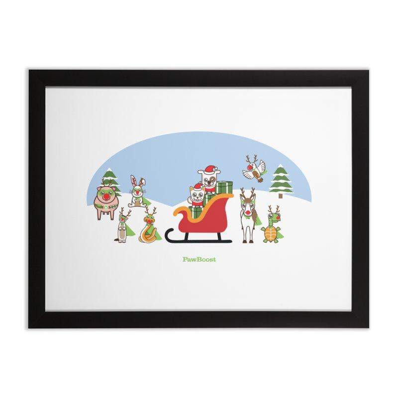 Santa Paws & Reindeer Home Framed Fine Art Print by PawBoost's Shop