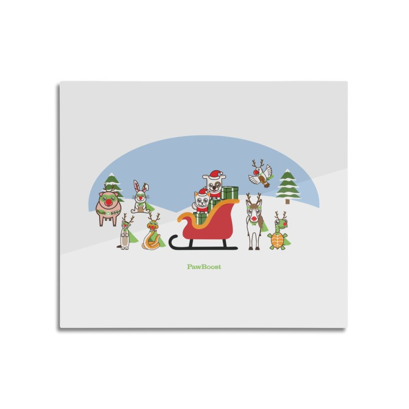 Santa Paws & Reindeer Home Mounted Acrylic Print by PawBoost's Shop