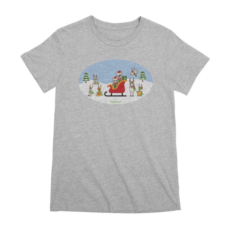 Santa Paws & Reindeer Women's Premium T-Shirt by PawBoost's Shop