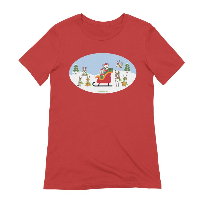 Santa Paws & Reindeer in Women's Extra Soft T-Shirt Red by PawBoost's Shop