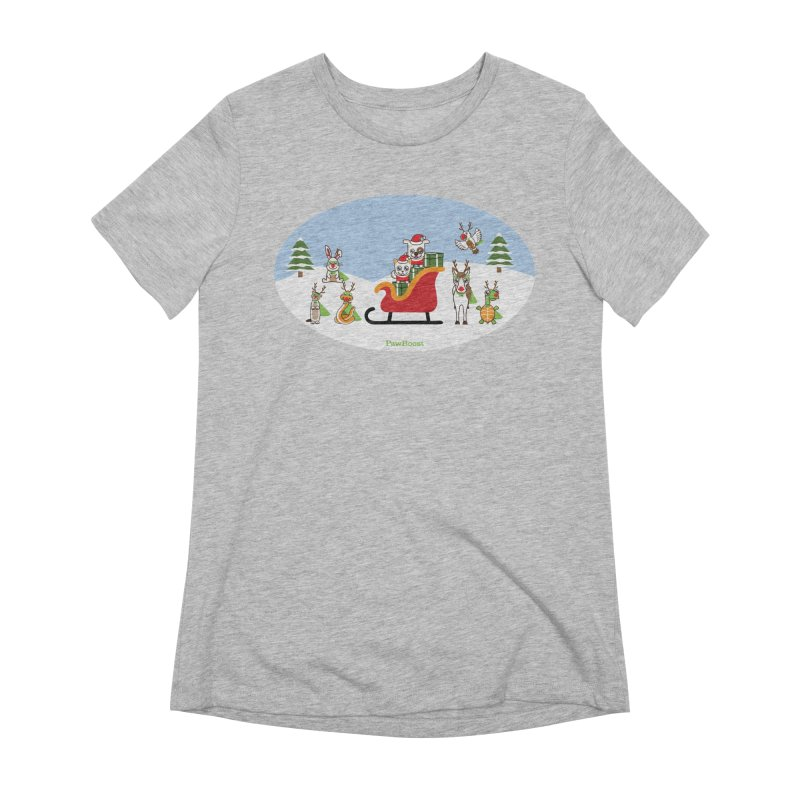 Santa Paws & Reindeer Women's Extra Soft T-Shirt by PawBoost's Shop