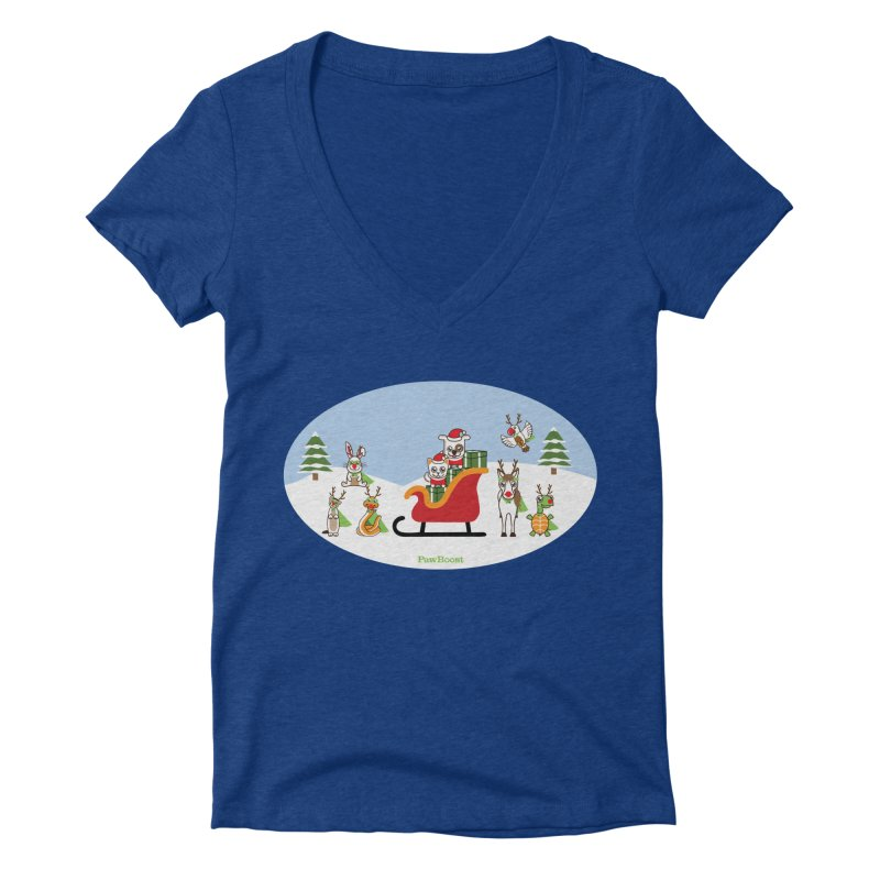Santa Paws & Reindeer Women's Deep V-Neck V-Neck by PawBoost's Shop