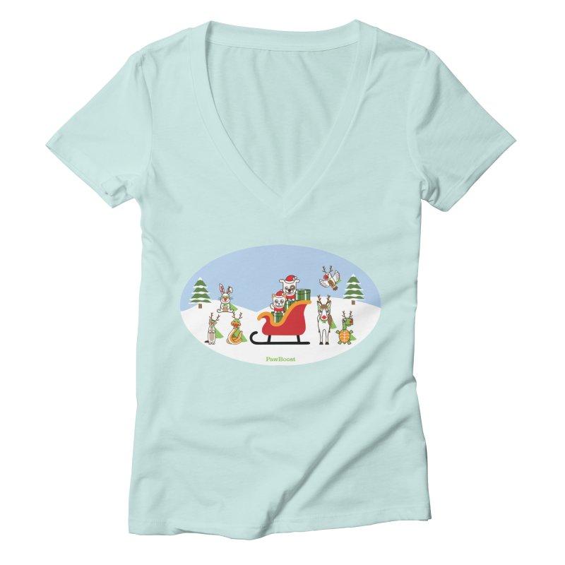 Santa Paws & Reindeer Women's Deep V-Neck V-Neck by PawBoost's Shop