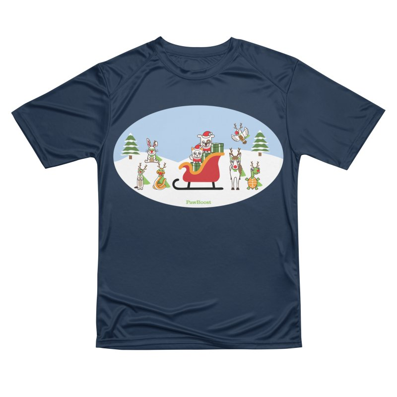 Santa Paws & Reindeer Women's Performance Unisex T-Shirt by PawBoost's Shop