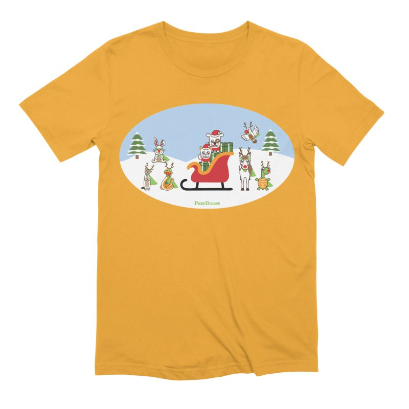 Santa Paws & Reindeer Men's Extra Soft T-Shirt by PawBoost's Shop
