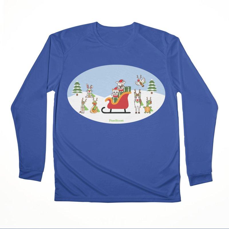 Santa Paws & Reindeer Men's Performance Longsleeve T-Shirt by PawBoost's Shop