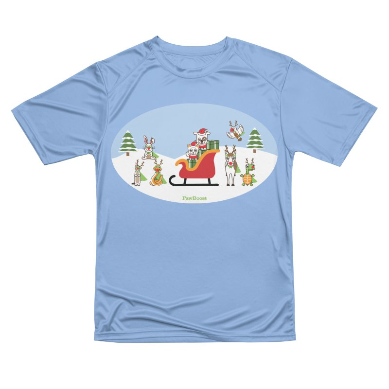 Santa Paws & Reindeer Men's Performance T-Shirt by PawBoost's Shop
