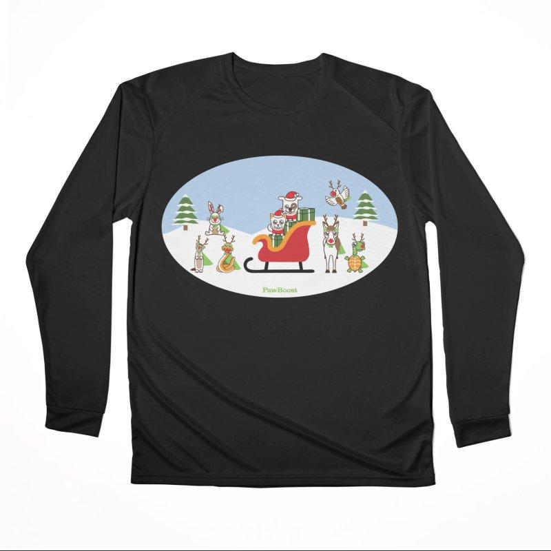 Santa Paws & Reindeer Women's Performance Unisex Longsleeve T-Shirt by PawBoost's Shop