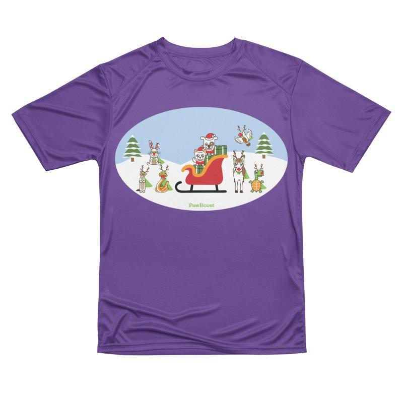Santa Paws & Reindeer Women's Performance Unisex T-Shirt by PawBoost's Shop