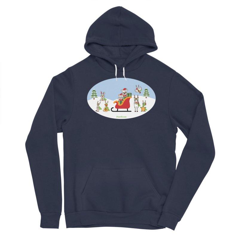 Santa Paws & Reindeer Men's Sponge Fleece Pullover Hoody by PawBoost's Shop