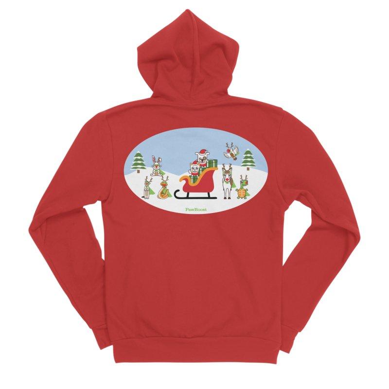 Santa Paws & Reindeer Men's Sponge Fleece Zip-Up Hoody by PawBoost's Shop