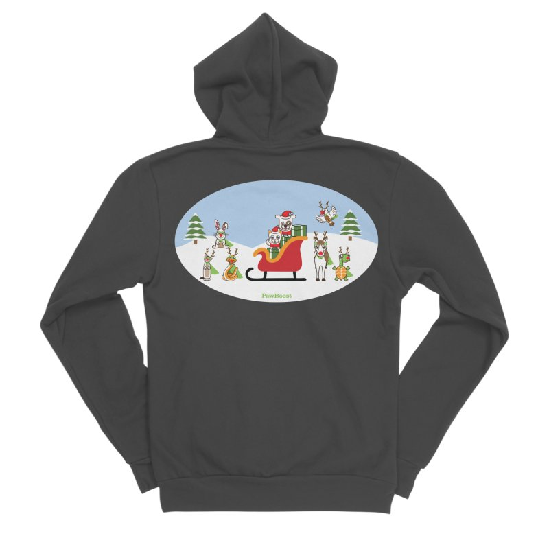 Santa Paws & Reindeer Men's Sponge Fleece Zip-Up Hoody by PawBoost's Shop