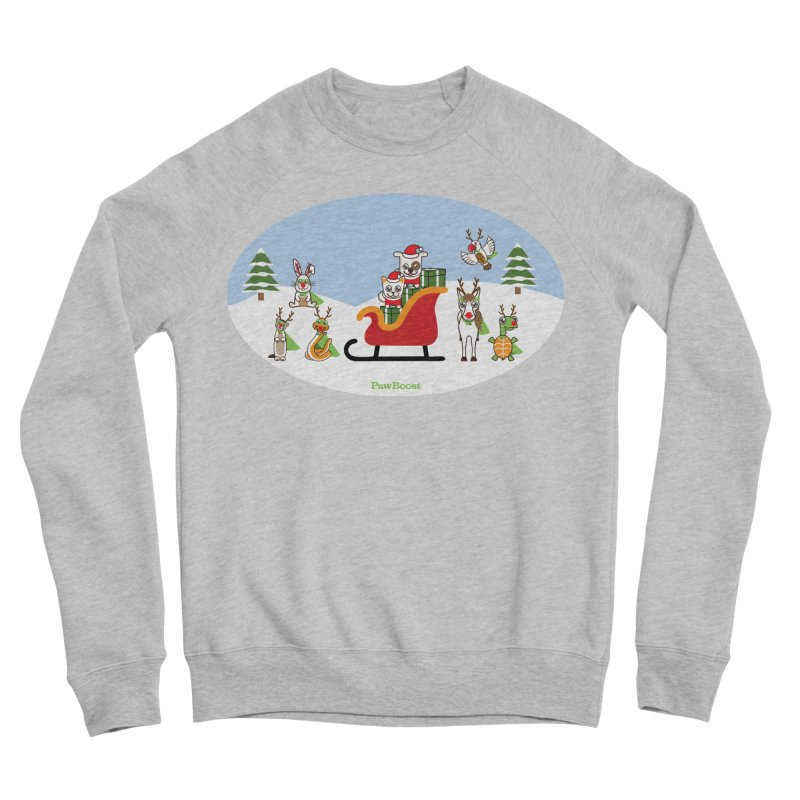 Santa Paws & Reindeer Men's Sponge Fleece Sweatshirt by PawBoost's Shop