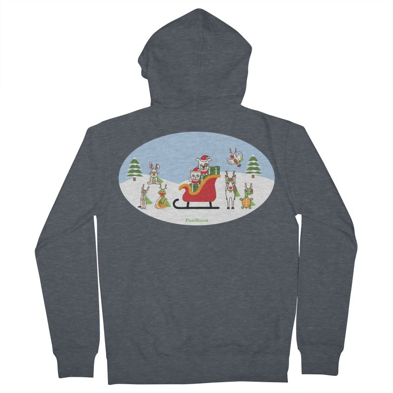 Santa Paws & Reindeer Women's French Terry Zip-Up Hoody by PawBoost's Shop