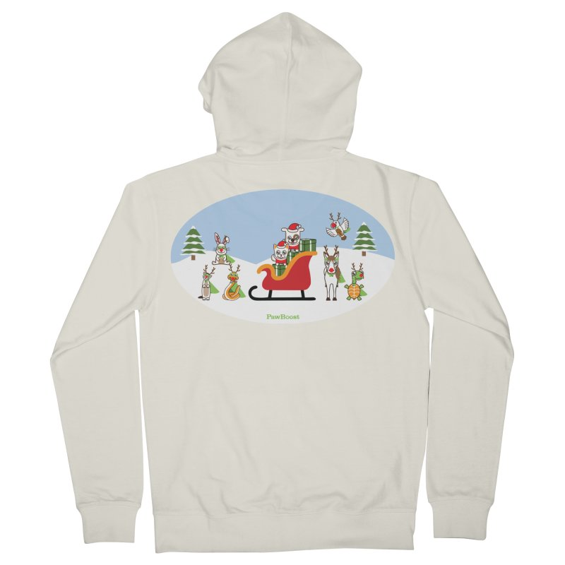 Santa Paws & Reindeer Men's French Terry Zip-Up Hoody by PawBoost's Shop