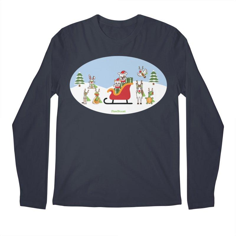 Santa Paws & Reindeer Men's Regular Longsleeve T-Shirt by PawBoost's Shop