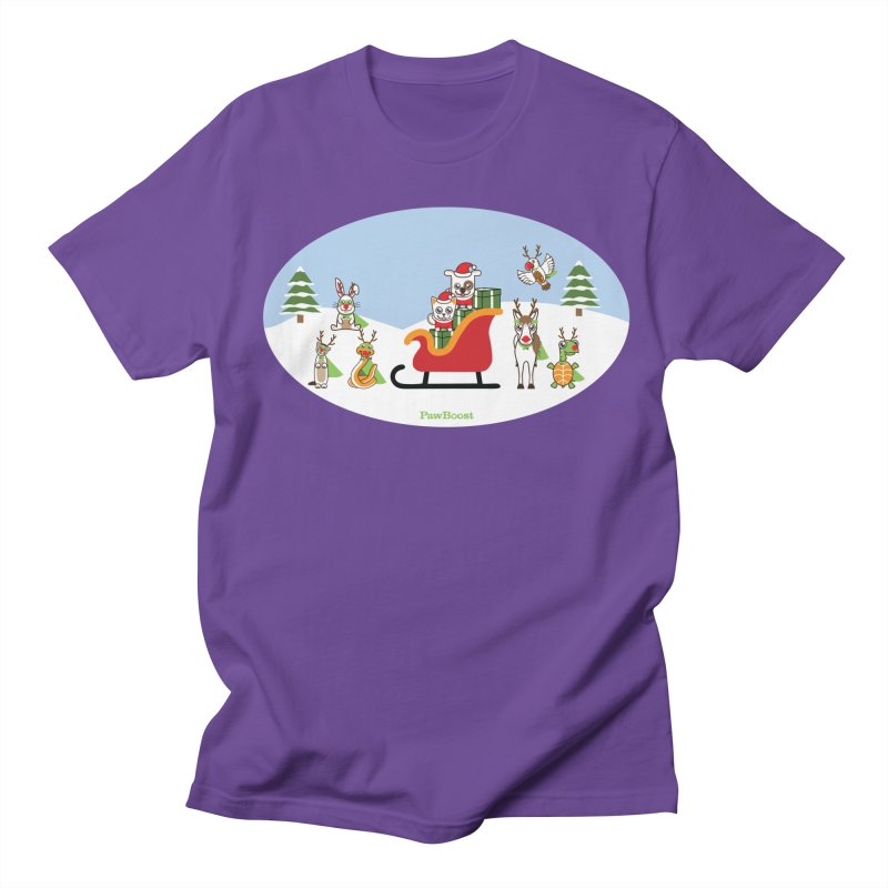 Santa Paws & Reindeer Women's Regular Unisex T-Shirt by PawBoost's Shop