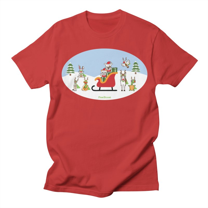 Santa Paws & Reindeer Men's Regular T-Shirt by PawBoost's Shop