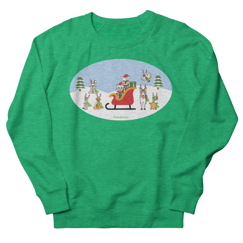 Santa Paws & Reindeer Women's French Terry Sweatshirt by PawBoost's Shop