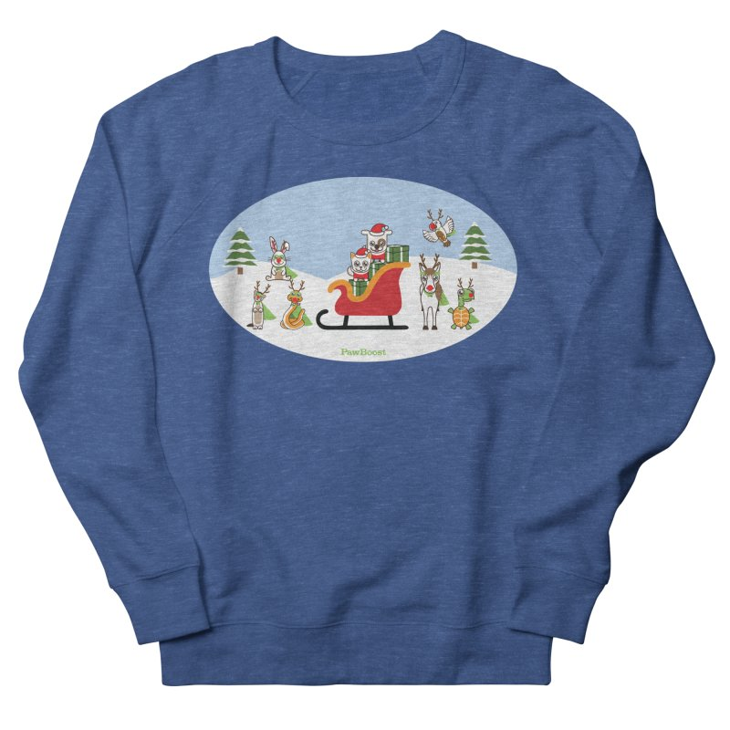 Santa Paws & Reindeer Men's French Terry Sweatshirt by PawBoost's Shop