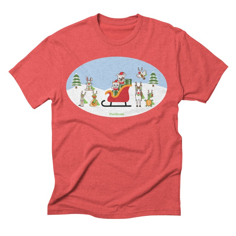 Santa Paws & Reindeer Men's Triblend T-Shirt by PawBoost's Shop