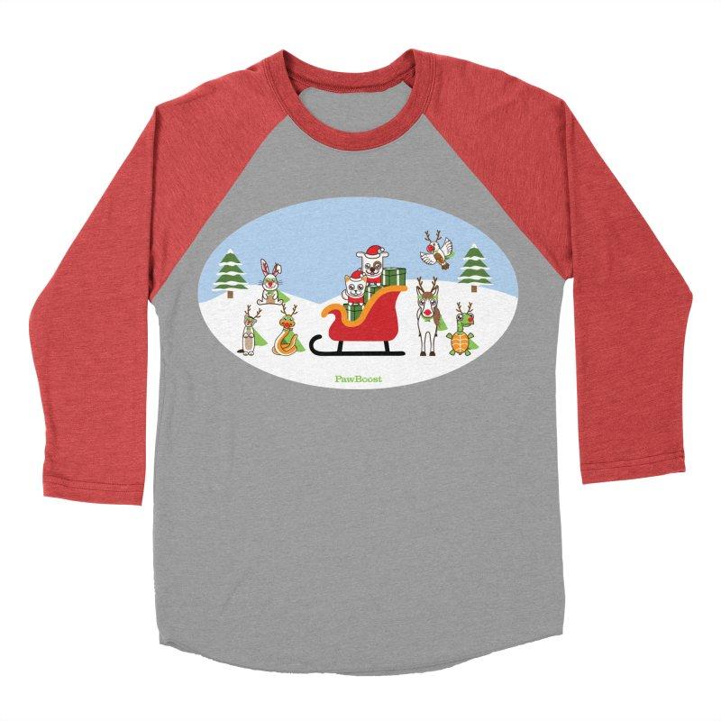 Santa Paws & Reindeer Women's Baseball Triblend Longsleeve T-Shirt by PawBoost's Shop