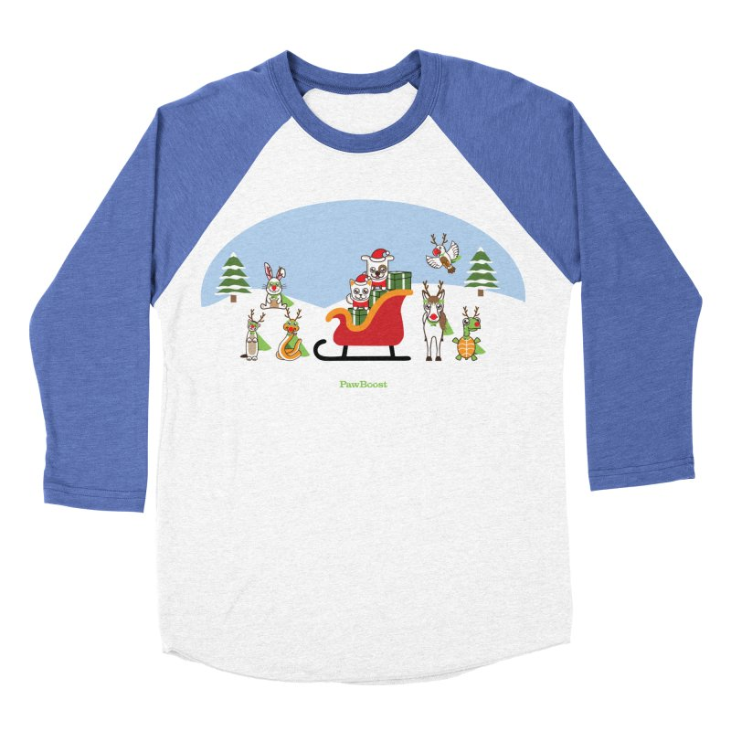 Santa Paws & Reindeer Men's Baseball Triblend Longsleeve T-Shirt by PawBoost's Shop