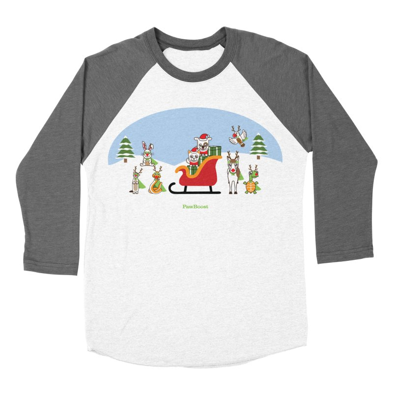 Santa Paws & Reindeer Men's Baseball Triblend Longsleeve T-Shirt by PawBoost's Shop
