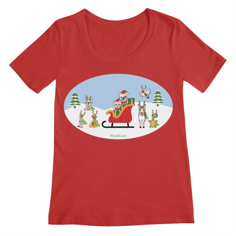 Santa Paws & Reindeer Women's Regular Scoop Neck by PawBoost's Shop