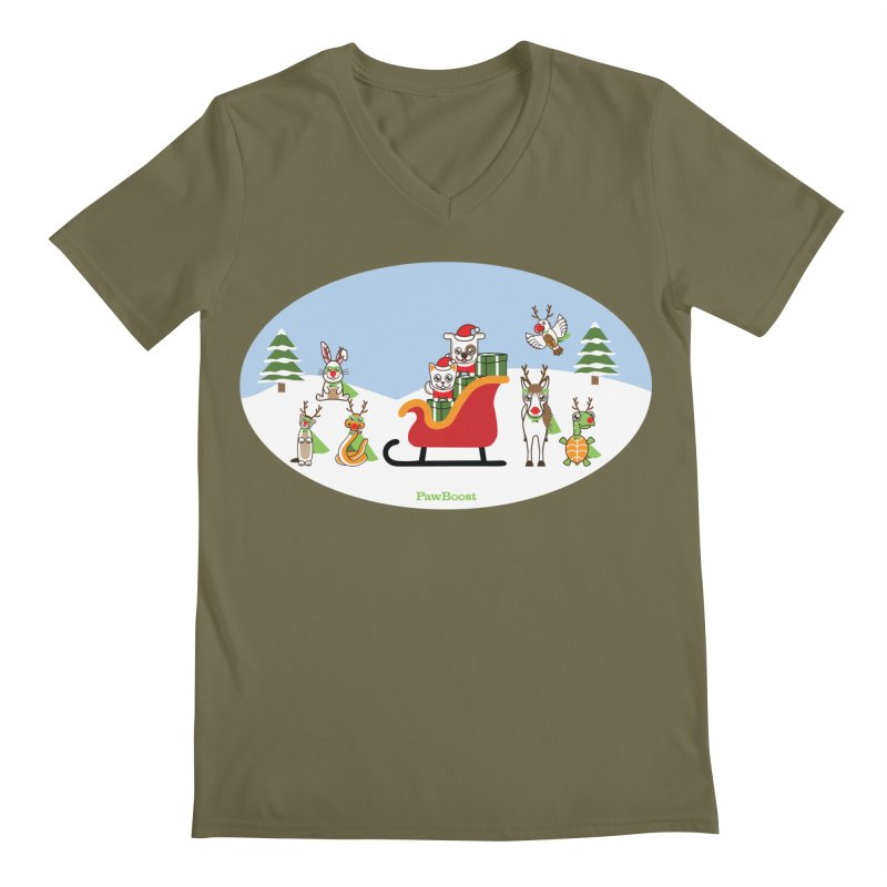 Santa Paws & Reindeer Men's Regular V-Neck by PawBoost's Shop