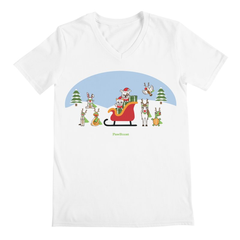 Santa Paws & Reindeer Men's Regular V-Neck by PawBoost's Shop